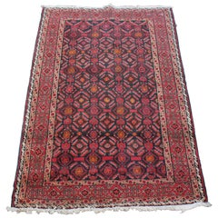 Vintage Persian Hand Knotted Baluch Wool Area Rug Geometric Carpet