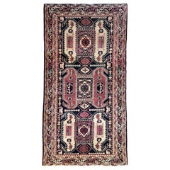 Vintage Persian Hand Knotted Geometric Ardabil Rug, circa 1960