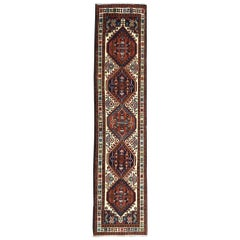 Vintage Persian Hand Knotted Geometric Ardabil Runner Rug