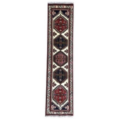 Vintage Persian Hand Knotted Geometric Repeated Medallion Ardabil Runner Rug