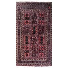 Vintage Persian Hand Knotted Salmon Brown Tribal Baluchi Rug, circa 960
