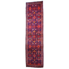 Vintage Persian Hand Knotted Saveh Geometric Wool Rug Runner Carpet Mat
