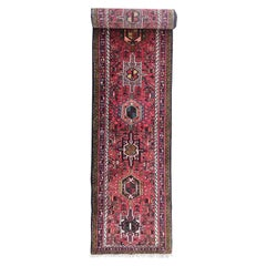 Vintage Persian Hand Knotted Tribal Geometric Red Karajeh Runner, circa 1960