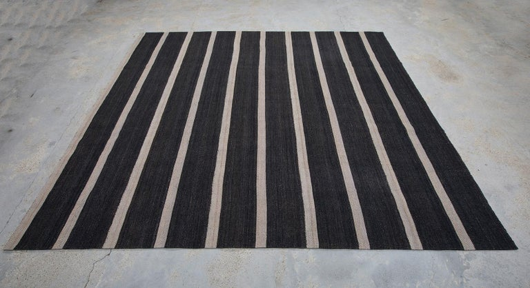 Kilim Vintage Persian Handwoven Flat-Weave Rug in Black and Beige Stripe For Sale
