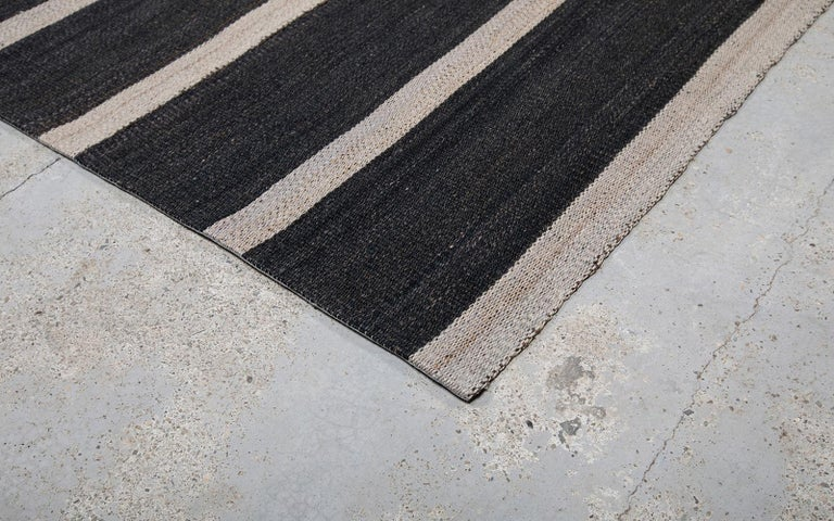 Hand-Woven Vintage Persian Handwoven Flat-Weave Rug in Black and Beige Stripe For Sale
