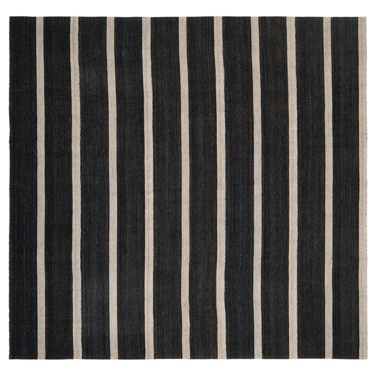 Vintage Persian Handwoven Flat-Weave Rug in Black and Beige Stripe For Sale