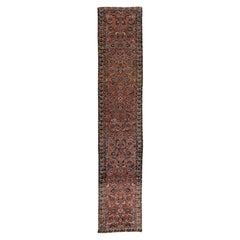 Vintage Persian Heriz Handmade Floral Rust Wool Runner