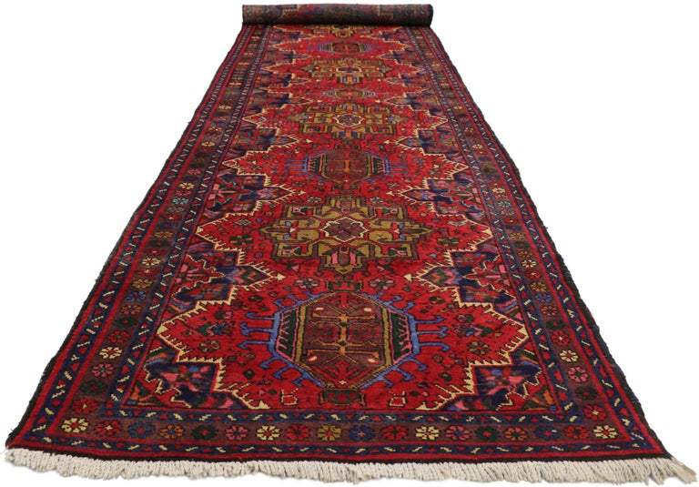 Heriz Serapi Vintage Persian Heriz Karaja Runner with with Tribal Art Deco Style For Sale