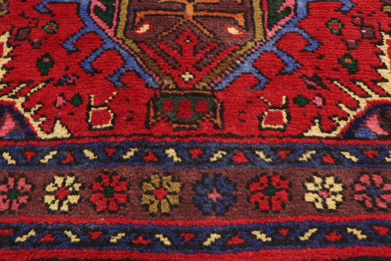 Hand-Knotted Vintage Persian Heriz Karaja Runner with with Tribal Art Deco Style For Sale