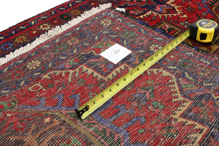 Vintage Persian Heriz Karaja Runner with with Tribal Art Deco Style In Good Condition For Sale In Dallas, TX