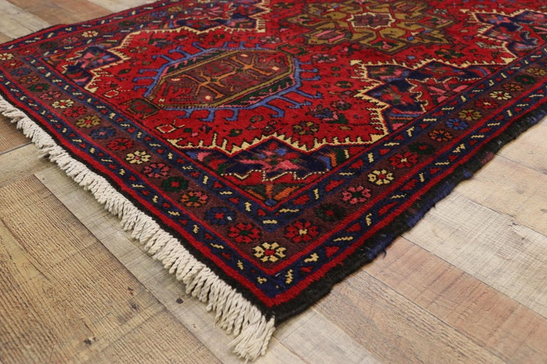 20th Century Vintage Persian Heriz Karaja Runner with with Tribal Art Deco Style For Sale