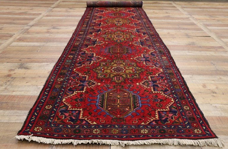 Wool Vintage Persian Heriz Karaja Runner with with Tribal Art Deco Style For Sale
