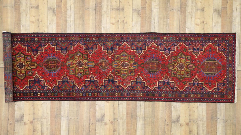 Vintage Persian Heriz Karaja Runner with with Tribal Art Deco Style For Sale 1