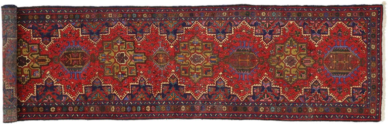 Vintage Persian Heriz Karaja Runner with with Tribal Art Deco Style For Sale 2