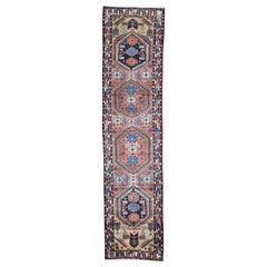 "Vintage Persian Heriz Pure Wool Runner Hand-Knotted Oriental Rug, 3'2"" x 13'2"""
