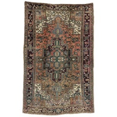 Vintage Persian Heriz Rug with Arts & Crafts Bungalow Style