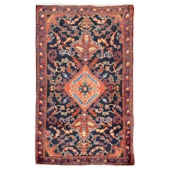 Vintage Persian Heriz Rug with Blue and Red Botanical Details