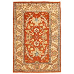 Vintage Persian Heriz Rug with Gray and Beige Floral Details on Red Center Field