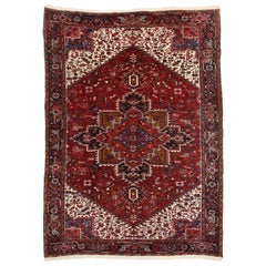 Vintage Persian Heriz Rug with Manor House and Tudor Style