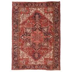 Vintage Persian Heriz Rug with Modern American Craftsman Style