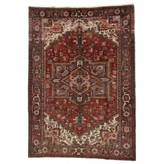 Vintage Persian Heriz Rug with Modern Downton Abbey Style