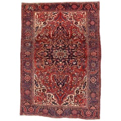 Vintage Persian Heriz Rug with Modern Style