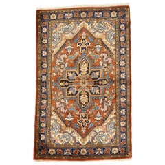 Vintage Persian Heriz Rug with Rustic Federal Style