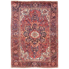Semi Antique Persian Heriz Rug with Stylized Medallion Design in Red and Blue