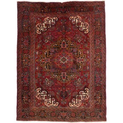 Vintage Persian Heriz Rug with Traditional Style