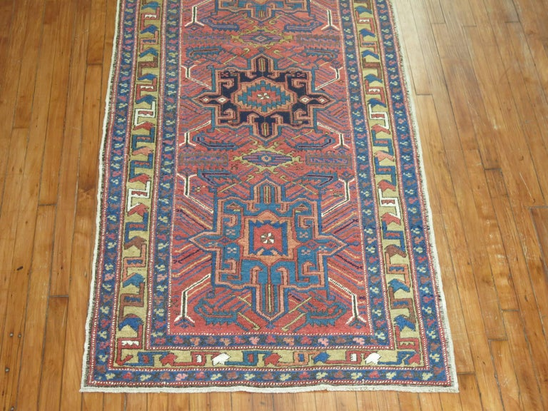 A one of a kind vintage Persian Heriz runner.