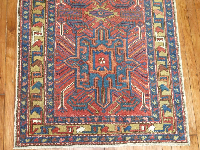 Hand-Knotted Vintage Persian Heriz Runner For Sale