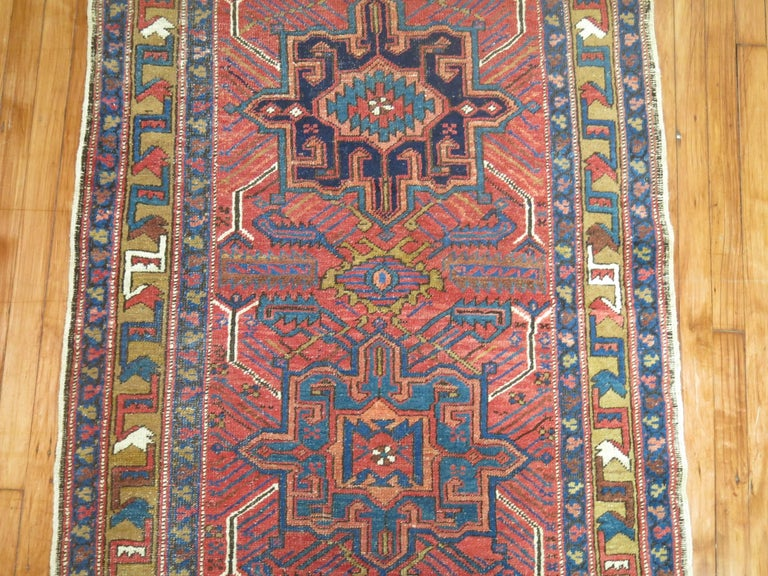 Vintage Persian Heriz Runner In Excellent Condition For Sale In New York, NY