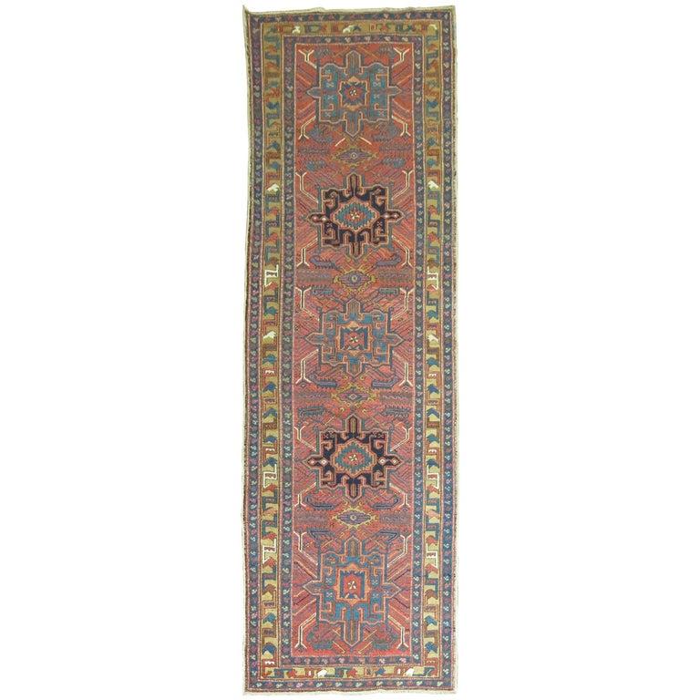 Vintage Persian Heriz Runner For Sale