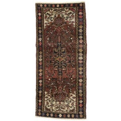 Distressed Vintage Persian Heriz Runner with Rustic Mid-Century Modern Style