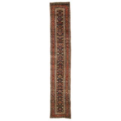 Vintage Persian Heriz Runner with Mina Khani Pattern, Extra-Long Hallway Runner