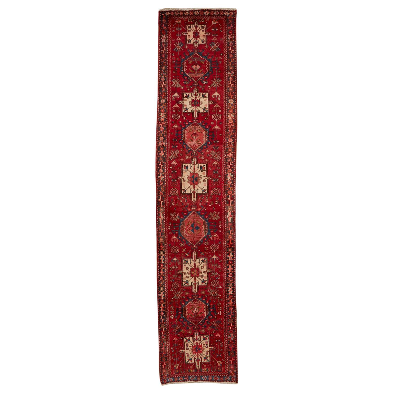 Vintage Persian Karadja Heriz Runner with Tribal Design
