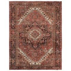Vintage Persian Heriz Salmon Color Organic Wool Oriental Rug