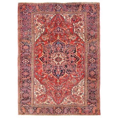 Vintage Persian Heriz with Large Medallion in Beautiful Red and Blue