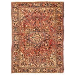 Vintage Persian Heriz with Large Medallion with Soft Red and Blue