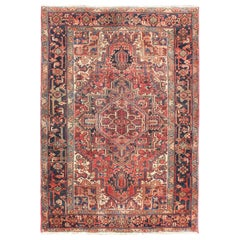 Vintage Persian Heriz with Medallion in Blue and Faded Red