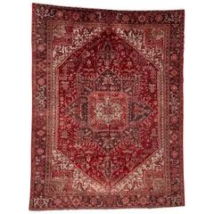 Vintage Persian Heriz Wool Rug