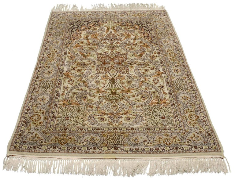 Hand-Knotted Vintage Persian Isfahan Prayer Rug, Islamic Art Wall Hanging Tapestry For Sale