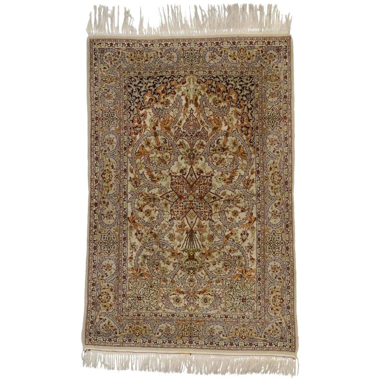 Vintage Persian Isfahan Prayer Rug, Islamic Art Wall Hanging Tapestry For Sale