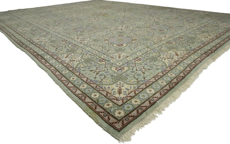75731 Vintage Persian Isfahan Rug with Gustavian Grace and Georgian Style 08'07 x 11'06. With dreamy hues and well-balanced symmetry paired with captivating elegance, this hand-knotted wool vintage Persian Isfahan rug beautifully embodies both