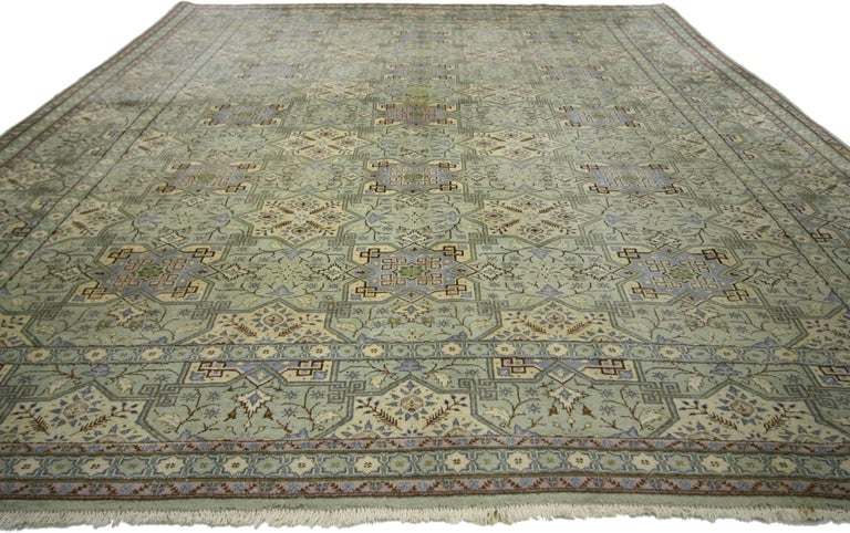 Kashan Vintage Persian Isfahan Rug with Gustavian Grace and Georgian Style For Sale