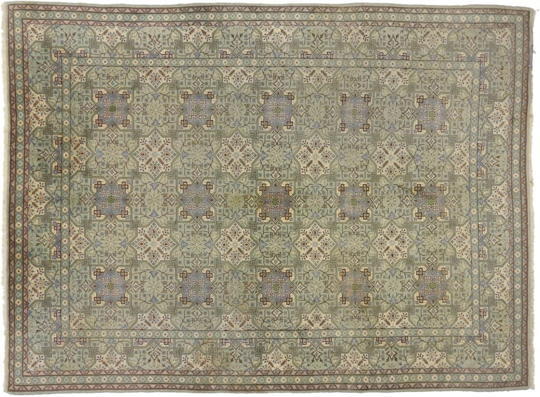 Vintage Persian Isfahan Rug with Gustavian Grace and Georgian Style In Good Condition For Sale In Dallas, TX