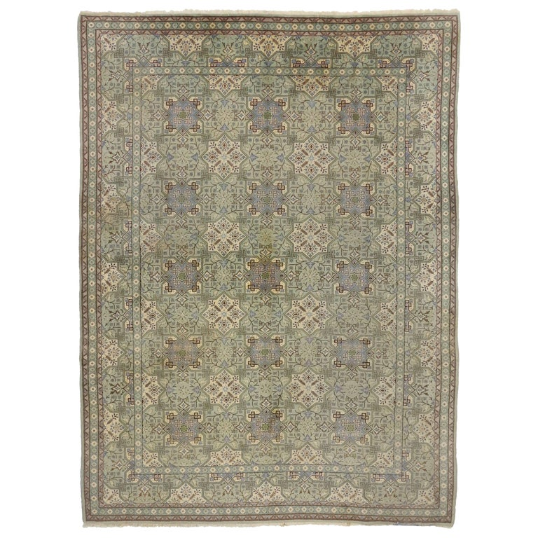 Vintage Persian Isfahan Rug with Gustavian Grace and Georgian Style For Sale