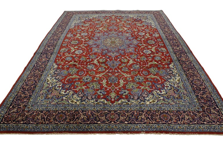 76901 Vintage Persian Isfahan Rug with Shah Abba Design and Federal Style. Rich colors with beguiling ambiance, this hand-knotted wool vintage Persian Isfahan rug features an all-over Shah Abba pattern of dancing vines and tendrils with cornflower