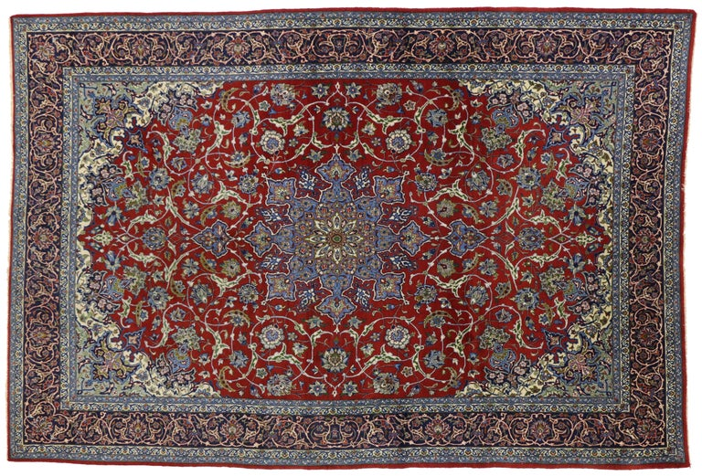 Hand-Knotted Vintage Persian Isfahan Rug with Shah Abba Design and Arabesque Federal Style For Sale