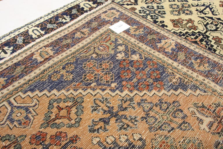 Vintage Persian Joshegan Rug with Modern Italian Farmhouse Style In Good Condition For Sale In Dallas, TX